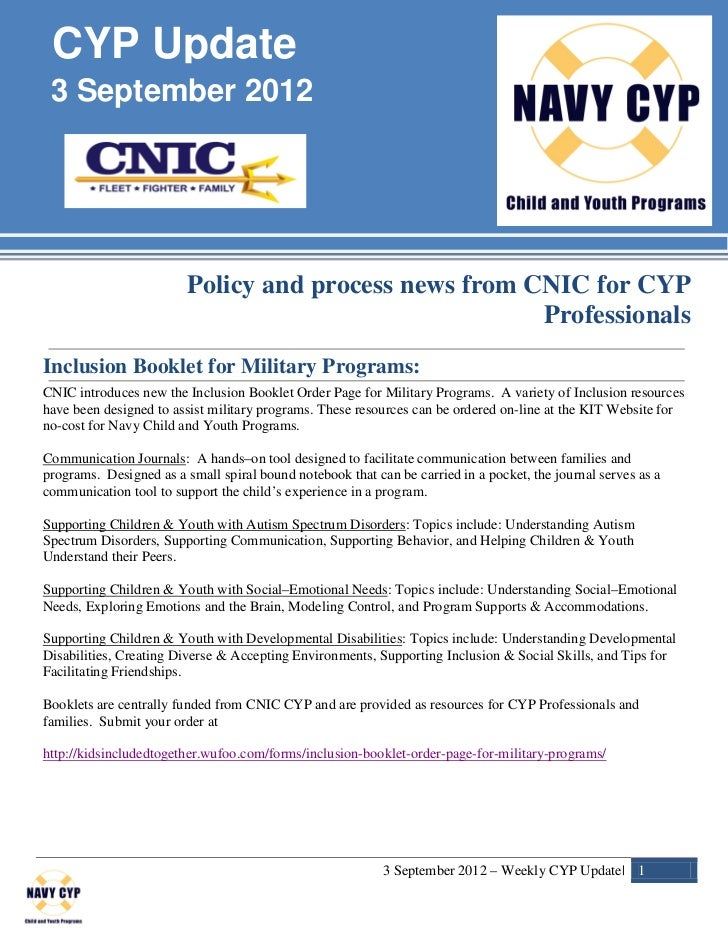 CYP Update 3 September 2012                         Policy and process news from CNIC for CYP                             ...