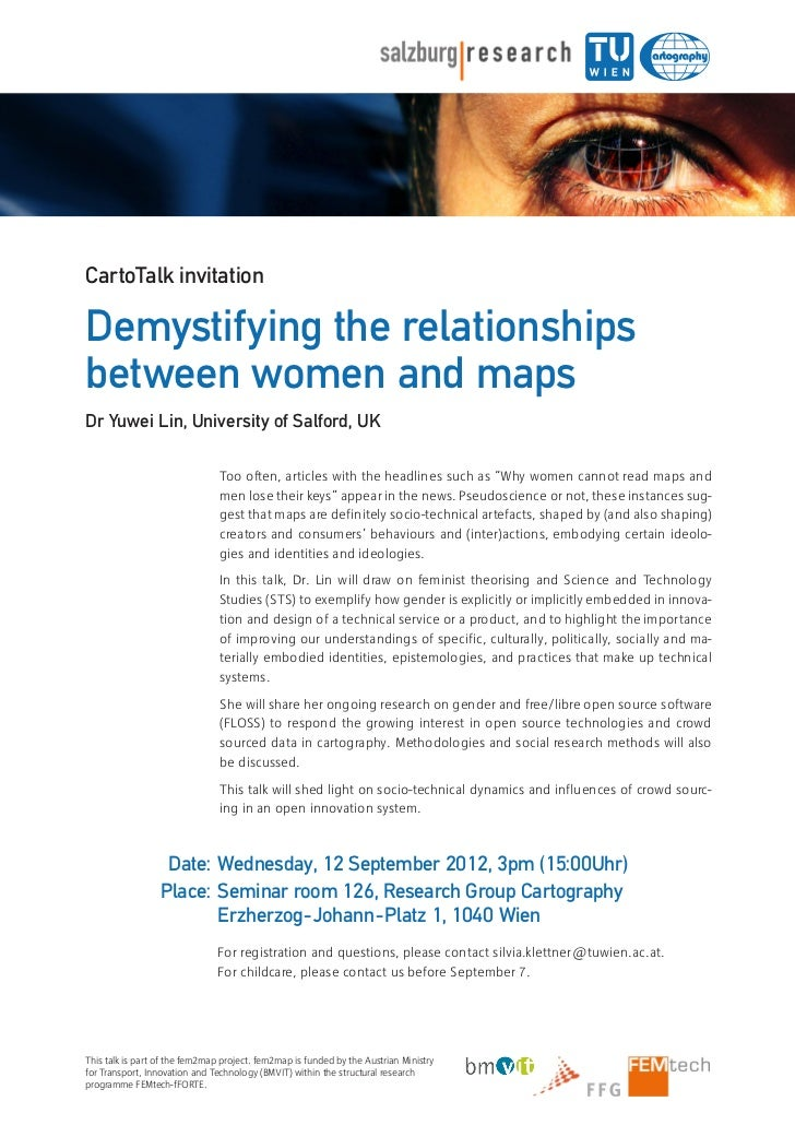 Demystifying the relationships between women and maps (flyer for the Vienna CartoTalk)