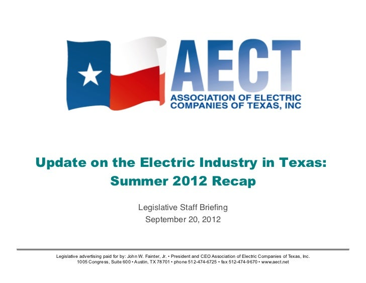 Summer 2012 Update on the Electric Industry in Texas
