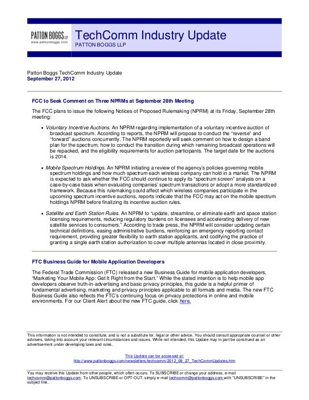 TechComm Industry Update                           PATTON BOGGS LLPPatton Boggs TechComm Industry UpdateSeptember 27, 2012...