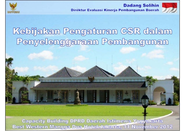 Kebijakan Pengaturan CSR dalam Penyelenggaraan Pembangunan