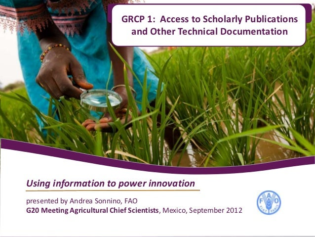 GRCP 1: Access to Scholarly Publications                              and Other Technical DocumentationUsing information t...