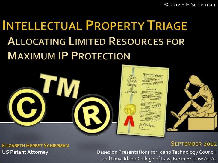 © 2012 E.H.SchiermanELIZABETH HERBST SCHIERMANUS Patent Attorney           Based on Presentations for Idaho Technology Cou...