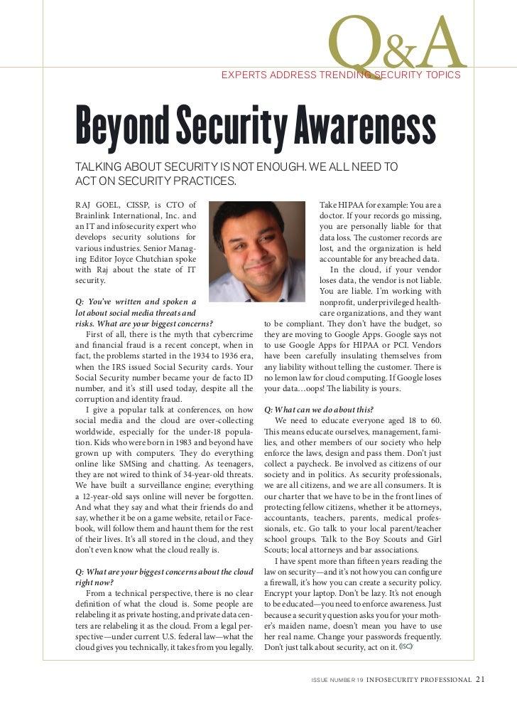 2012 09 Isc2 Info Security Professional Magazine Raj Goel Interview