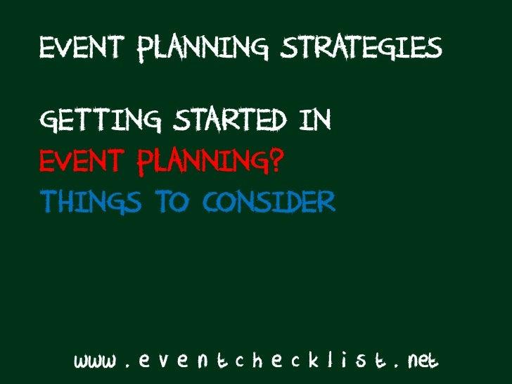 Event Planning Strategies