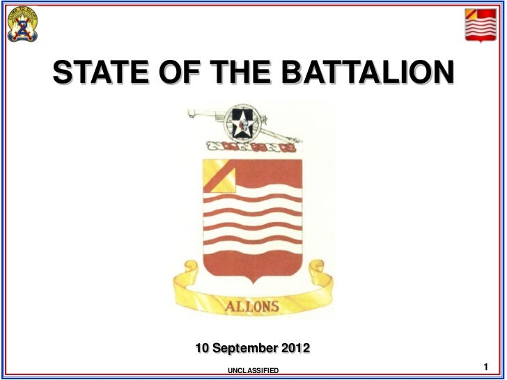 STATE OF THE BATTALION       10 September 2012           UNCLASSIFIED    1