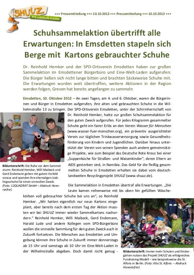 +++ Pressemitteilung +++ 10.10.2012 +++ Pressemitteilung +++ 10.10.2012 +++                Schuhsammelaktion übertrifft al...
