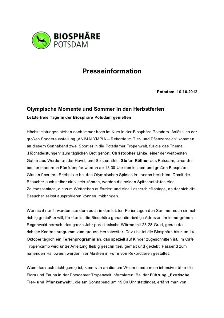 Presseinformation                                                                       Potsdam, 10.10.2012Olympische Mome...