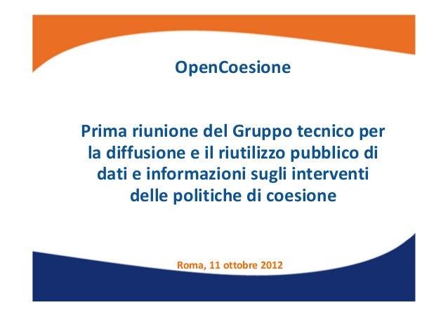OpenCoesione: l'avvio dell'iniziativa