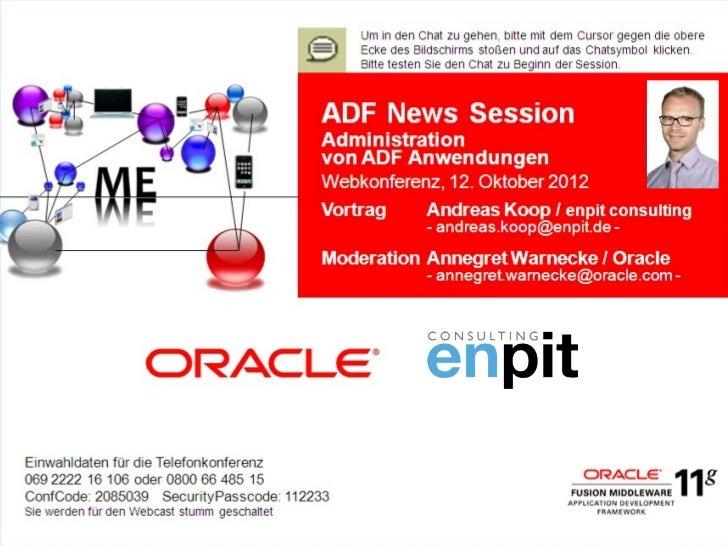 Administration von ADF Anwendungen