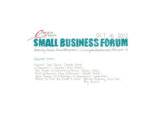 Sketchnotes for Small Business Forum 2012 [Enterprise Toronto]