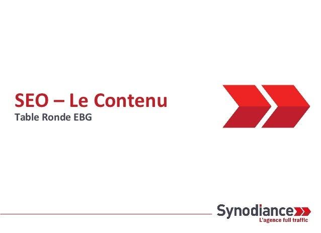 Conf EBG du 18/10/2012: Optimiser le contenu de son site pour améliorer son référencement
