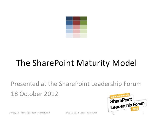The SharePoint Maturity Model Presented at the SharePoint Leadership Forum 18 October 201210/18/12 - #SPLF @sadalit #spmat...