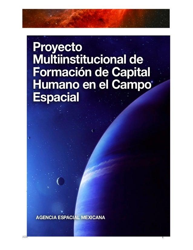 Proyecto      Multiinstitucional de      Formación de Capital      Humano en el Campo      Espacial      AGENCIA ES...