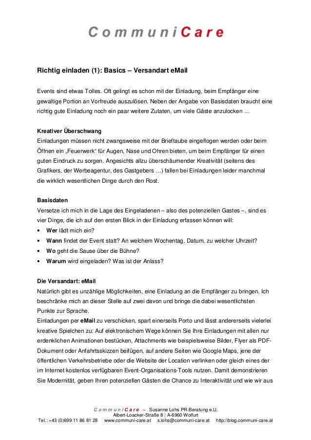 Richtig einladen (1): Basics – Versandart eMailEvents sind etwas Tolles. Oft gelingt es schon mit der Einladung, beim Empf...