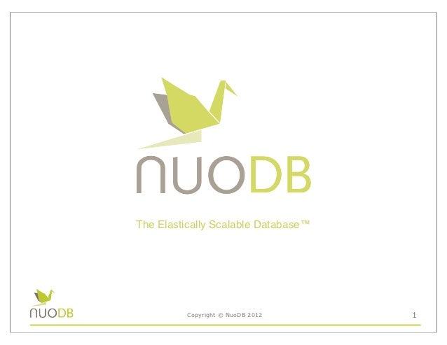 The Elastically Scalable Database™         Copyright © NuoDB 2012      1