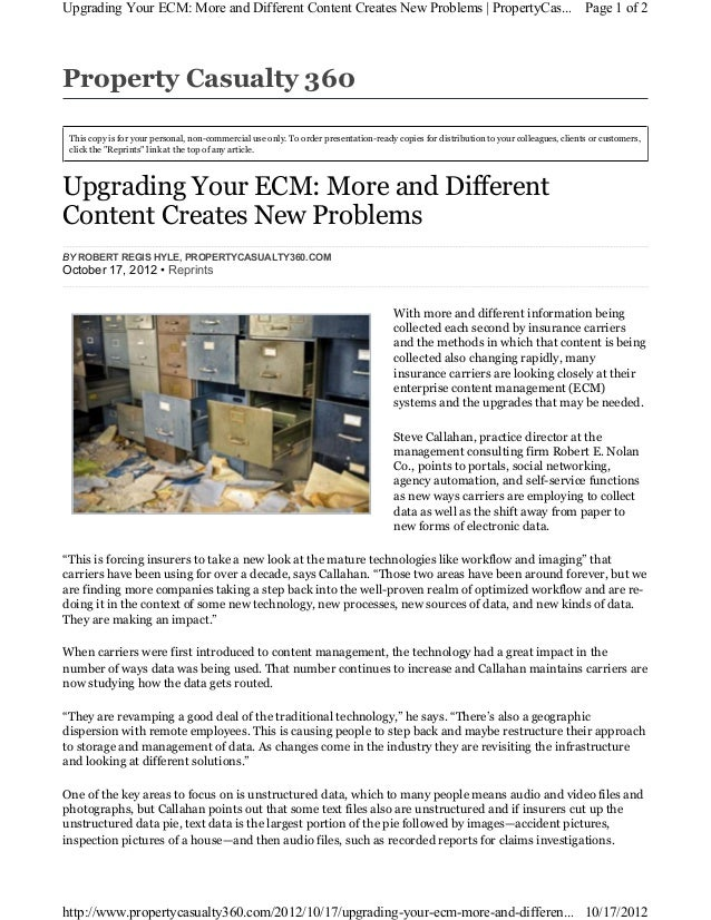 201210 Property Casualty 360: Upgrading Your ECM