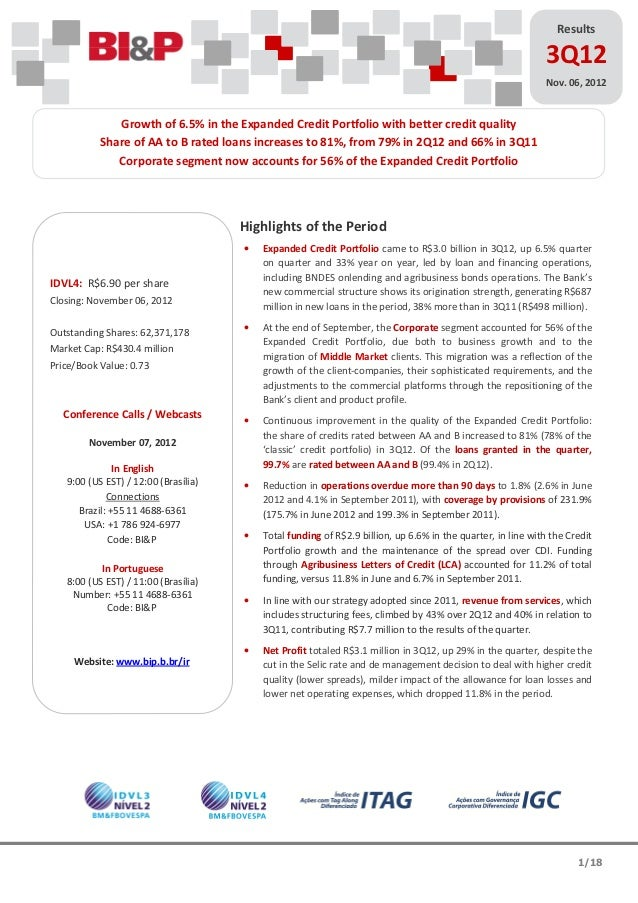 3Q12 Earnings Release Report