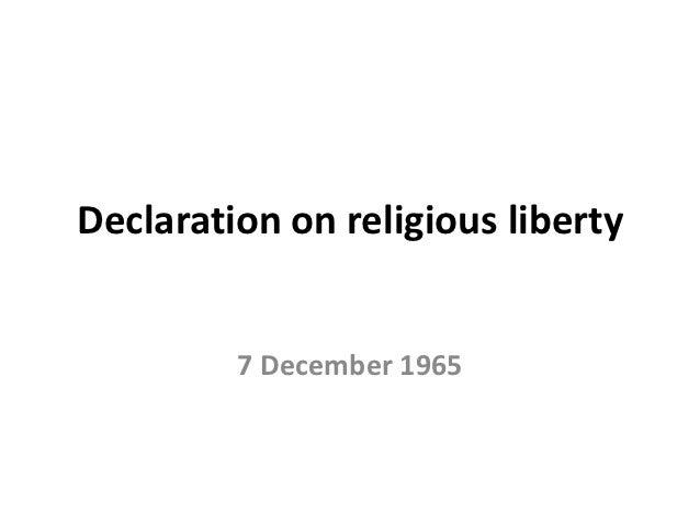 Declaration on religious liberty         7 December 1965