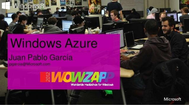 Presentation TitleWindows AzureSpeaker NameJuan Pablo Garcíajpgarcia@Microsoft.com