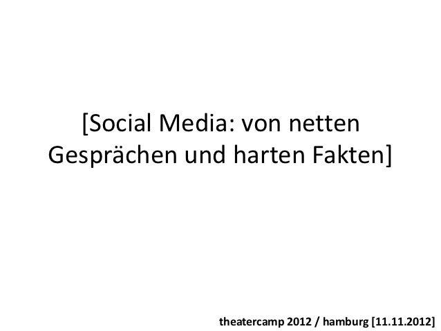 [Social Media: von nettenGesprächen und harten Fakten]              theatercamp 2012 / hamburg [11.11.2012]