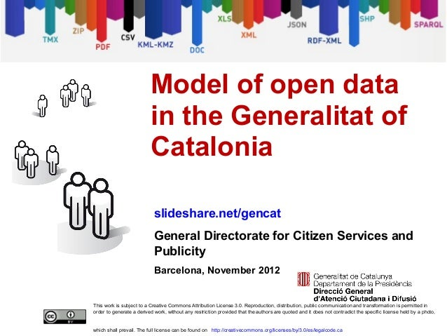 Model of open data in the Generalitat of Catalonia