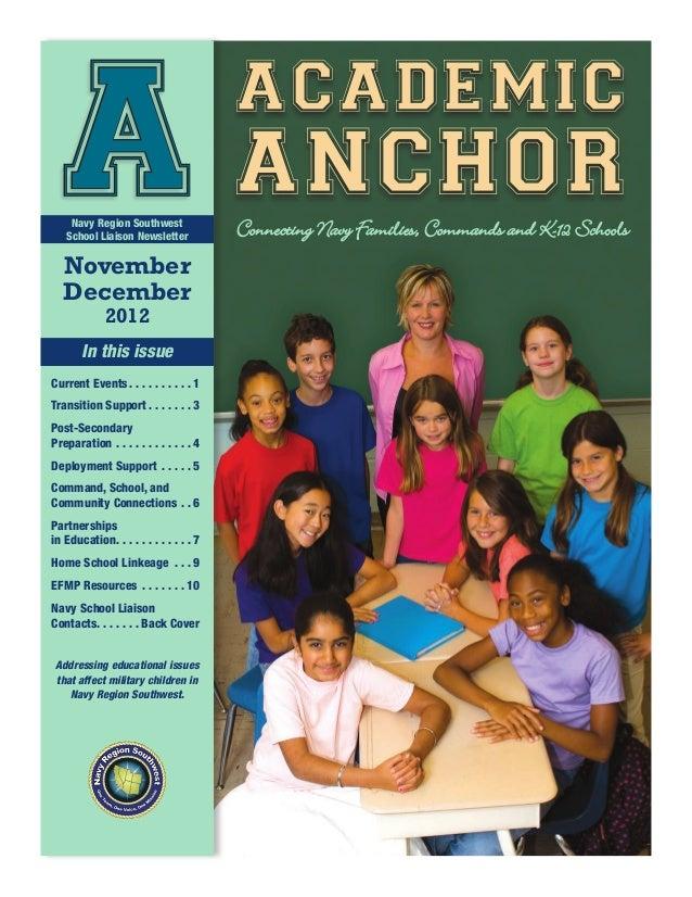 academic    A anchor     Navy Region Southwest    School Liaison Newsletter   November                                    ...