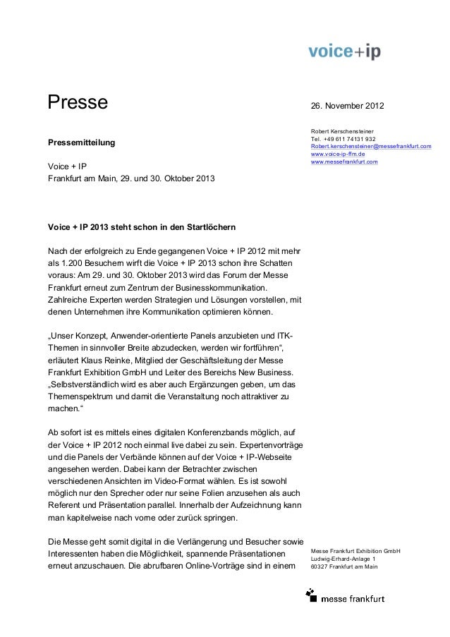 Presse                                                                 26. November 2012                                  ...