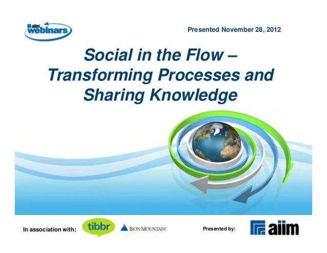 Presented November 28, 2012            Social in the Flow –        Transforming Processes and            Sharing Knowledge...