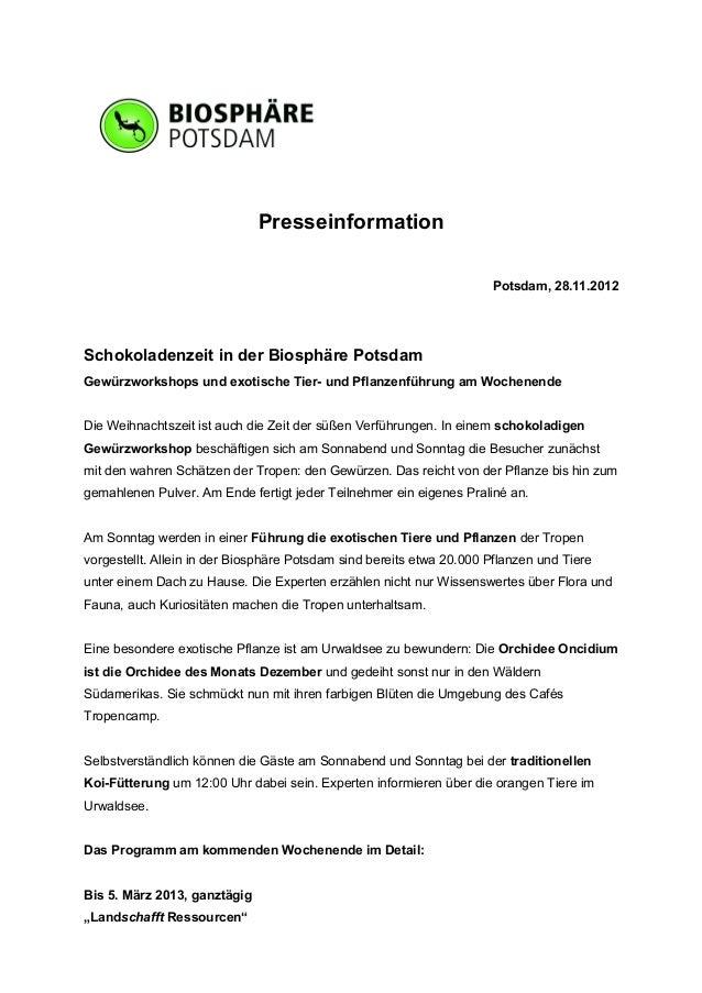 Presseinformation                                                                      Potsdam, 28.11.2012Schokoladenzeit ...