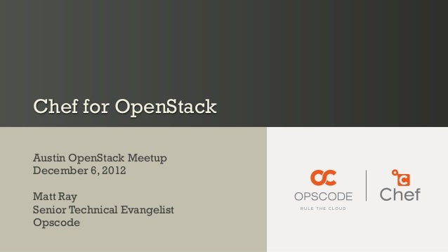 Chef for OpenStack December 2012