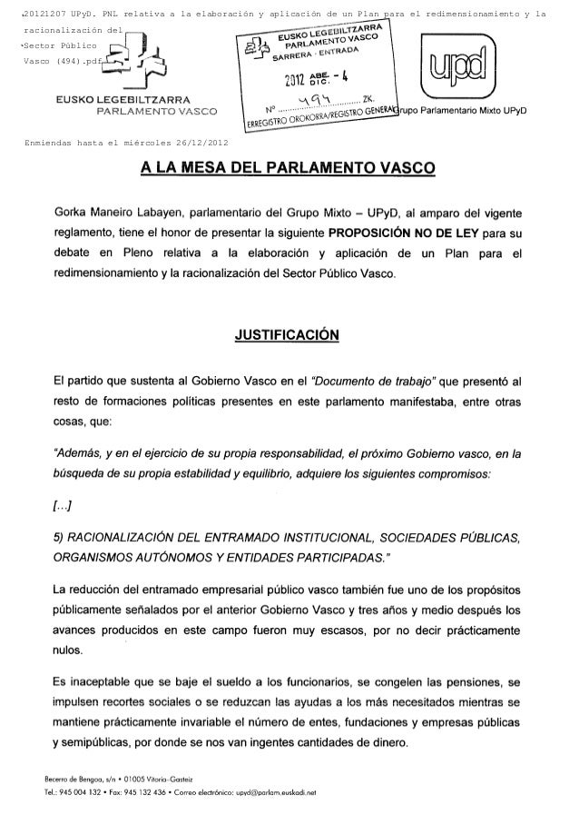 20121207 UPyD. PNL relativa a la elaboración y aplicación de un Plan para el redimensionamiento y laracionalización delSec...