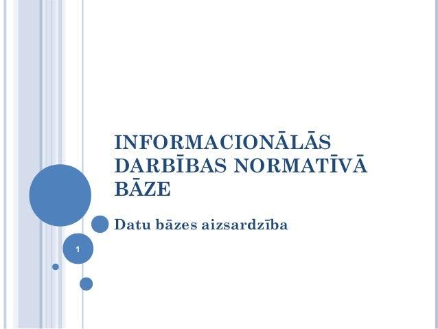 INFORMACIONĀLĀS    DARBĪBAS NORMATĪVĀ    BĀZE    Datu bāzes aizsardzība1