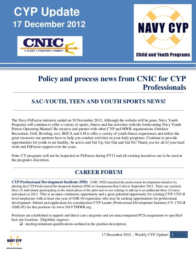 CYP Update17 December 2012                   Policy and process news from CNIC for CYP                                    ...