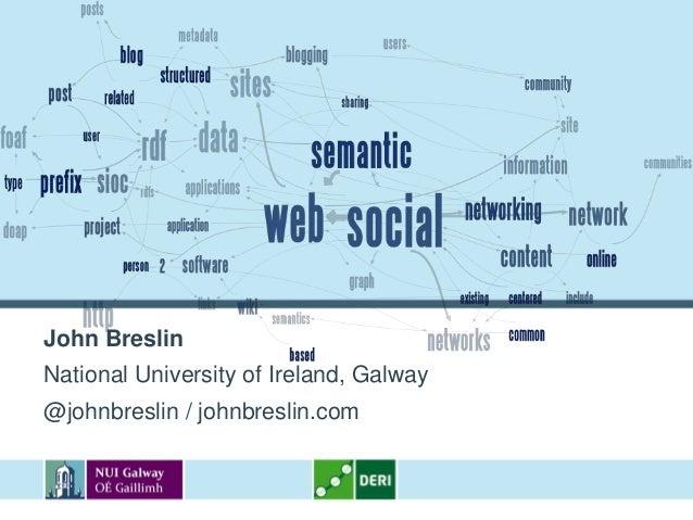 John BreslinNational University of Ireland, Galway@johnbreslin / johnbreslin.com