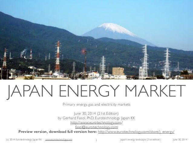 (c) 2014 Eurotechnology Japan KK www.eurotechnology.com Japan's energy landscape (21st edition) June 30, 2014 Primary ener...