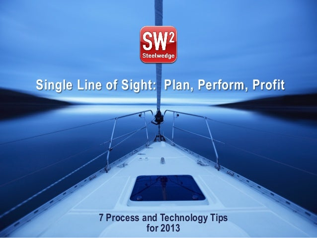 © 2012 Steelwedge Software, Inc. Confidential. 1Plan. Perform. Profit. 7 Process and Technology Tips for 2013 Single Line ...