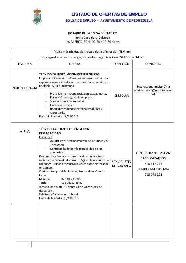 Listado de ofertas de empleo. Informa Bolsa de empleo del Ayuntamiento de Pedrezuela. Diciembre de 2012