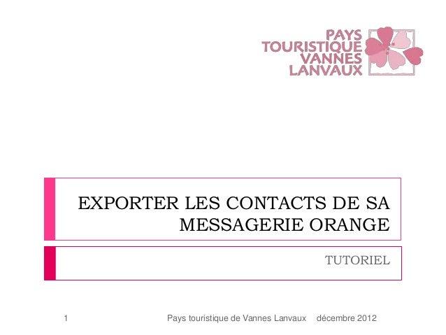 EXPORTER LES CONTACTS DE SA            MESSAGERIE ORANGE                                                 TUTORIEL1        ...