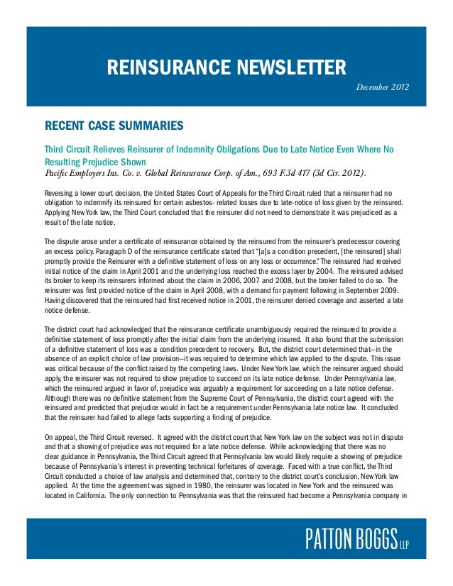 REINSURANCE NEWSLETTER                                                                                                    ...