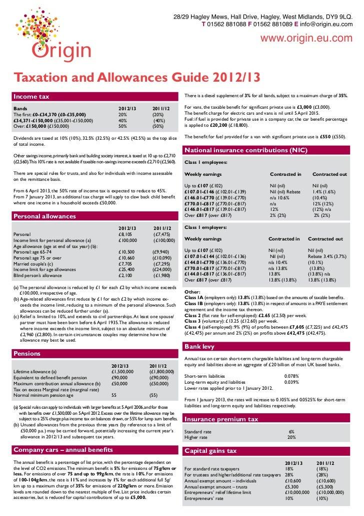 2012 13 Taxation & Allowance Guide