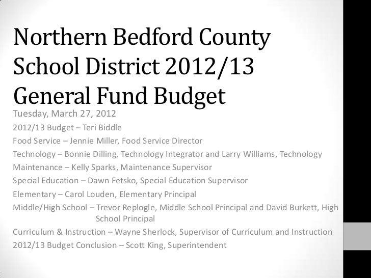 2012 2013 Budget Presentation March 27 2012