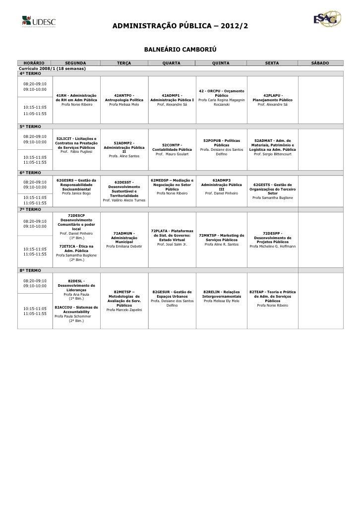Grade de Horários BC 2012 2