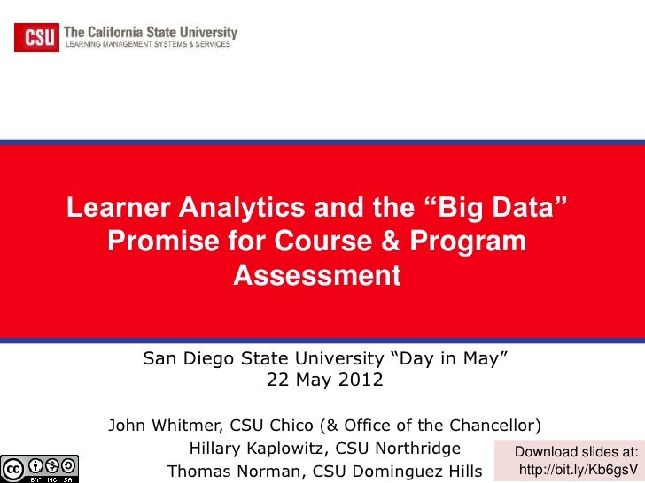 "Learner Analytics and the ""Big Data""  Promise for Course & Program           Assessment       San Diego State University ""..."