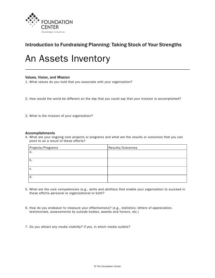 Introduction to Fundraising Planning: Taking Stock of Your StrengthsAn Assets InventoryValues, Vision, and Mission1. What ...