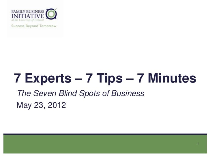 7 Experts – 7 Tips – 7 MinutesThe Seven Blind Spots of BusinessMay 23, 2012                                    1