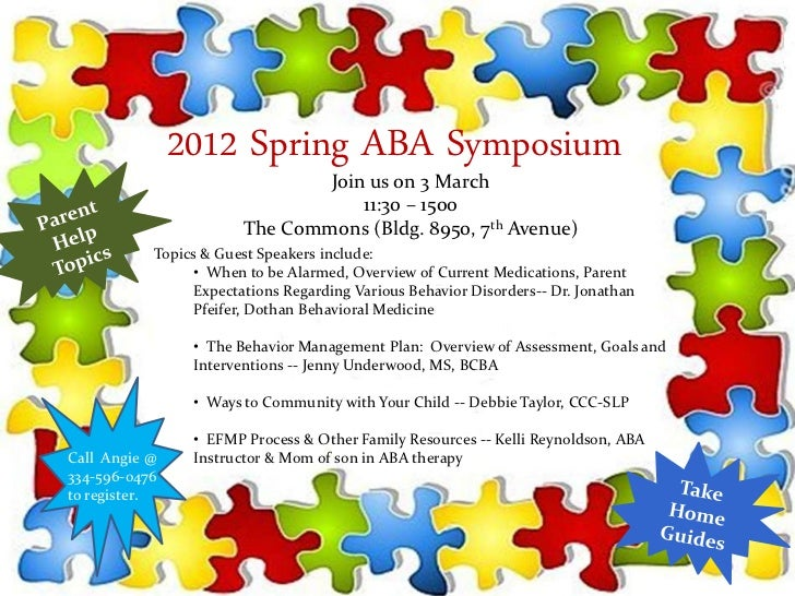 2012 Spring ABA Symposium                               Join us on 3 March                                   11:30 – 1500 ...
