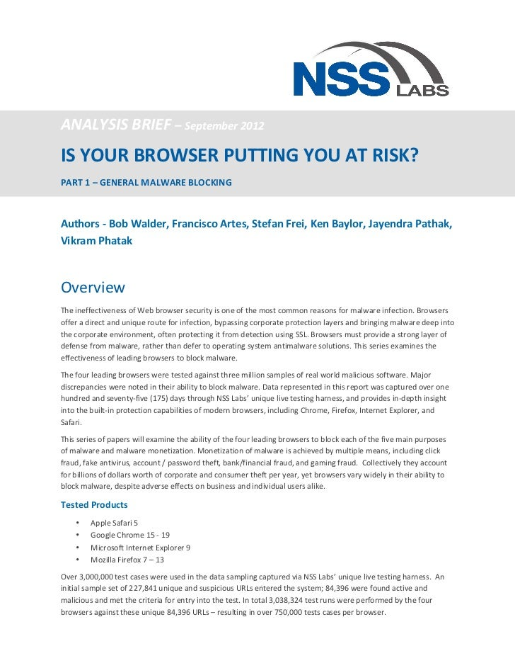 ANALYSIS BRIEF – September 2012 IS YOUR BROWSER PUTTING YOU AT RISK?  PART 1 – GENERAL ...