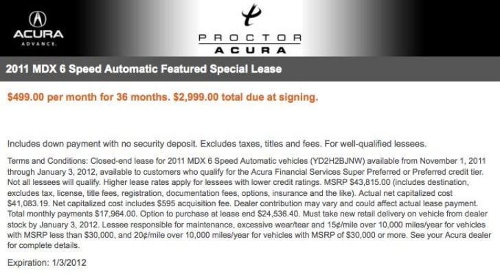 2012 Acura MDX Lease Special FL   Acura Dealer Tallahassee