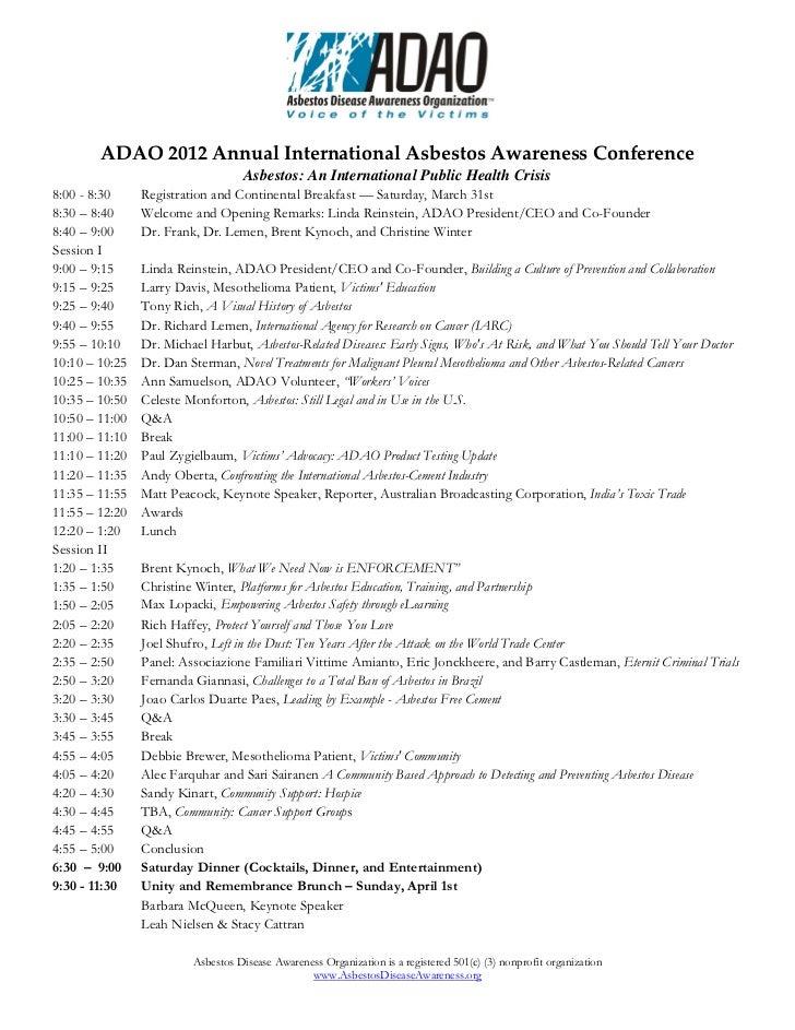 ADAO2012AnnualInternationalAsbestosAwarenessConference                                ...